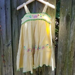 Kids Size 4 Yellow Sundress w/ Embroidered Flowers